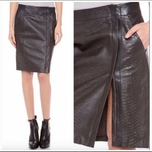 NEW Vince Olive Green Snake Embossed Leather Skirt